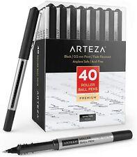 ARTEZA Roller Ball Pens, Black, Extra Fine 0.5 mm - Set of 40