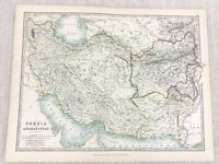 1896 Antique Map of Persia Afghanistan Iran Middle East 19th Century Johnston