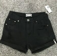 NWT One Teaspoon Jeans Chargers Distressed Denim Shorts Size 24 Black