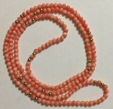Vintage 14K Gold Natural Pink Coral Beads Necklace