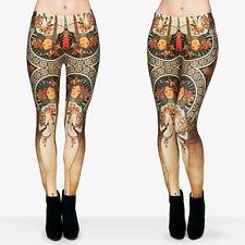 Nouveau Floreale Maiden Morbido Leggings - 8-12 UK ART DECO FIORI Marrone Chiaro Vintage Yoga