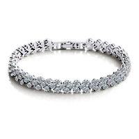 Party Queen Women 925 Silver AAA Full White Zircon Crystal Rome Bracelet Bangle