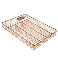 Copper 5 Compartment Cutlery Tray Kitchen Utensil Drainer Rack Organiser Storage