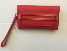 $ 99 NWT Talbots genuine leather wristlet fold over Cluch/Purse/Hand bag-Red