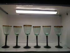 Set Of 6 Hand Blown Brown Stem Wine Glasses