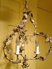 Mid Century/Vintage 3 Arm Metal Flowers Chandelier
