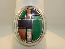 Inlay Ring! Signed Vm (Dishta) Rare Native American Sterling Silver Intricate