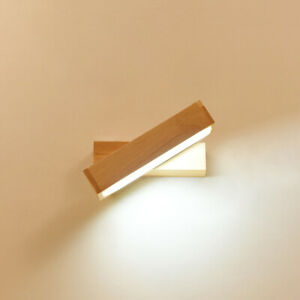 Nordic Rotatable Rectangle LED Wall Mounted Lamp Wooden Wall Light for Bedroom