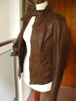 rrp£180 Ladies NEXT brown real leather JACKET COAT size UK 8 biker bomber racer