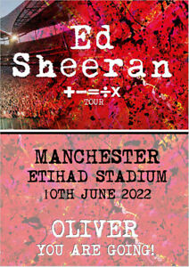 Personalised Ed Sheeran Tour 2022 Show Concert Tickets Reveal Card A5 ANY VENUE