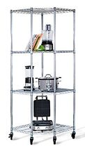 "4-tier Corner Wire Shelving Rack 18"" Deep NSF Includes Wheels Chrome Storage"
