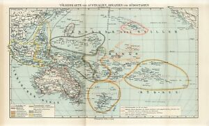 1895 AUSTRALIA OCEANIA NEW ZEALAND POLYNESIA MICRONESIA PEOPLE Antique FOLIO Map