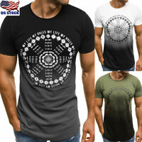 Fashion Mens Casual Printed Fit Short Sleeve Slim Muscle T-shirt Tee Tops Blouse