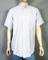 vtg 60s 70s King Size Light Blue White Striped SS Button Down Dress Shirt XL 17