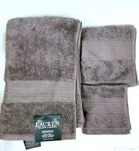 RALPH LAUREN GREENWICH 3 PC SET PEBBLE GRAY COTTON BATH+HAND+WASH CLOTH TOWEL