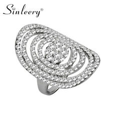 Cubic Zirconia Rings Fashion Jewelry Party Hollow Round White Gold Plated Full