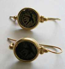 14K EARRINGS SET WITH 2 ANCIENT COINS OF THE ROMAN PROCURATOR ANTONIUS FELIX