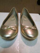 Lands End Gold Leather Ballett Shoes Size 5