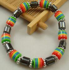 1pcs fashion accessories charm bead spacing haematite Stretch Bracelet hot aq6r