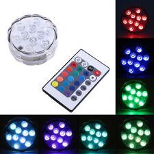 LAMPADA 10 LED LUCE CON TELECOMANDO ACQUARIO SOMMERGIBILE RGB IP65 IMPERMEABILE