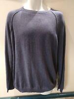 Cotton Traders Lightweight Blue Sweater Large Jumper Pullover Deep Iris Cotton