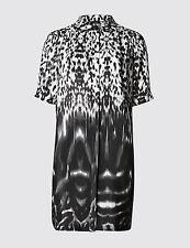 M&S AUTOGRAPH Pure Silk No Peep™ Animal Print Blouse Black Mix size 14 !!!