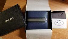 PRADA: Blue, Saffiano Folding Wallet