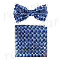 New Men's micro fiber Pre-tied Bow tie & hankie Blue royal blue checkers formal