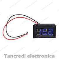 Voltmetro digitale 3.5V 30V da pannello blu modulo display (Arduino-Compatibile)