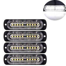 4Pcs 10-LED Strobe Lights Emergency Flashing Warning Beacon White/White 12V 24V