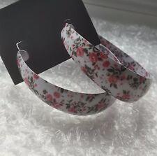 New Look White Floral Hoop Earrings New