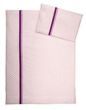 Baby Kinder Bettwäsche Baumwolle 100x135 weiss mit rosa Punkten und Borten