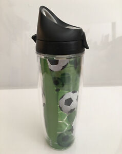 TERVIS Soccer Balls Water Bottle Tumbler Acrylic Double Walled Green/Black 24oz