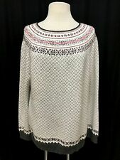 womens multi-color TALBOTS sweater nordic fair isle lambswool soft classic XL
