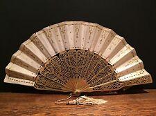 Antico Francese 19th secolo SETA VENTAGLIO squisito dettaglio vintage donna dorati