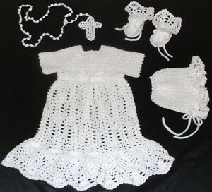 CROCHET PINEAPPLE CHRISTENING GOWN SET GOWN, BONNET, BOOTIES, & ROSARY 3 T0 6 MO