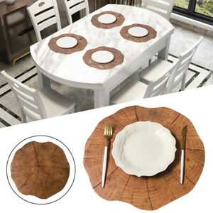 Wooden Grain PVC Place Mats Coasters Dining Table Placemats Non-Slip Insulation