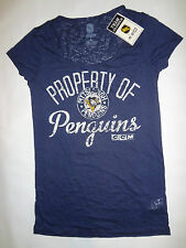Property of Penguins Womens Baby Tee Burn Out Shirt Size Small Hockey NHL SAMPLE