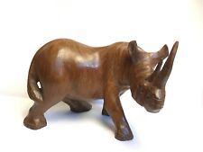 More details for solid wood rhinoceros rhino hand made