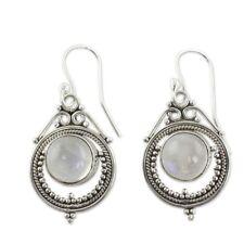 Vintage Silver Women Retro Handmade Moonstone Dangle Hook Earrings Jewelry Gift