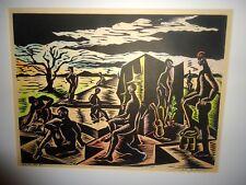 Original 1964 Linocut by James ? Framed Number 2 Africa Scene