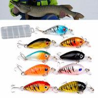 9Pcs Fishing Lures Set Spinner Plugs Crankbait Hooks Minnow Baits Tackle Crank