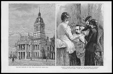 1886 Antique Print  - LONDON West Ham Stratford Town Hall Maximo Santos  (101)