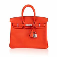Hermes Birkin 25 Vivid Capucine Swift PHW Handbag in Box 2016