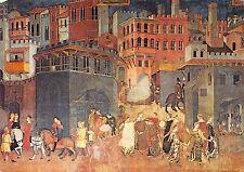 BF816 ambrogio lorenzetti la vita in citta palazzo publico postcard  siena italy