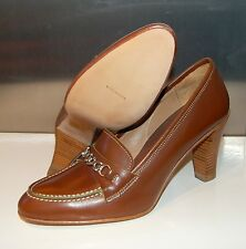 WOMAN - 39 - CHAIN PENNY LOAFER - MAREMMA TAN/GREEN EDGE - LEATHER SOLE - LINING