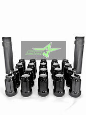 24 BLACK 6 SPLINE LUG NUTS + KEY | 12X1.5 | FITS TOYOTA FJ TACOMA TUNDRA 4RUNNER