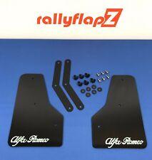 "RallyflapZ ALFA BRERA Anteriore Fango Flap Kit-Nero 4mm PVC ""ALFA ROMEO"" LOGO Bianco"