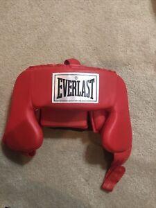 Everlast Headgear Protective Headwear Red Adjustable Helmet Boxing MMA Safety