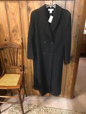 Womens Long Winter Coat Sz 8 Wool Black Preston & York Lined Dillard's NWT